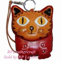 A Unique Design, Genuine Leather Wristlet Change Purse, Big Eye Beauty Kitty Face Cover, zipper closure.