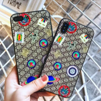 GUCCI UFO New fashion iPhone Floral more letter tiger print case toughened glass phone case