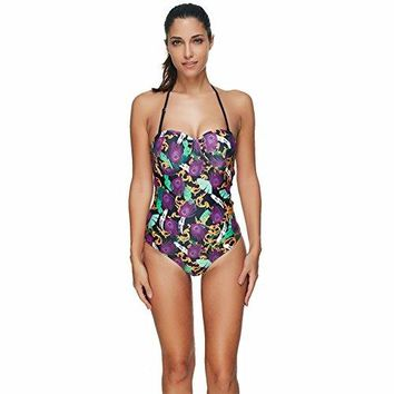 SUNGIFT Womens Bikini 1 Piece Monokini Halter Neck Vintage Swimwear Swimsuit