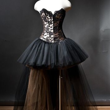 Custom Size Black and Gold lace and tulle Burlesque Corset Dress