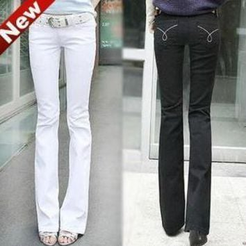 New Designer Brand Fashion Women White Slim Boot Cut Jeans women Skinny flare pants je