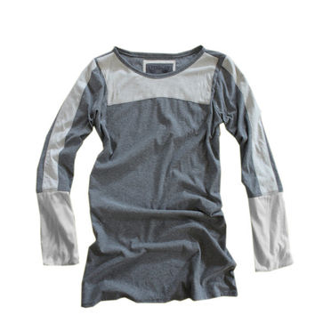 Women pull over top color blocking gray long sleeve by tratgirl