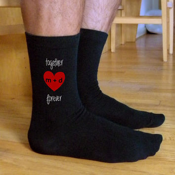 Together Forever, Valentine Socks, Custom Printed Personalized Men's Flat Knit Black Dress Socks, Valentine Gift Idea, Engagement Gift Idea