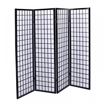 New Black 4 Panel Room Divider Screen Oriental Style Shoji Solid Wooden Screen