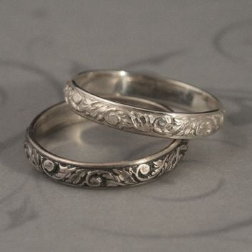Going Barouque Wedding Band--Sterling Silver Patterned Wire Stacking Ring
