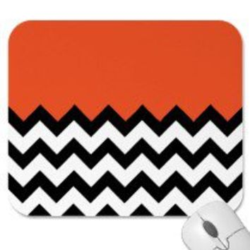 Tangerine Tango Pattern On Large Zigzag Chevron Mouse Pad