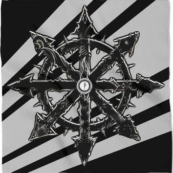 Steampunk star logo bandana, black and white design, rts gaming inspired, chaos marines
