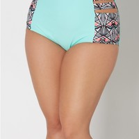 Plus Aztec High Waist Caged Bikini Bottom