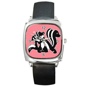 Pepe Le Pew and Penelope  ( Loony Tunes ) on Square Watch w/ Leather Band