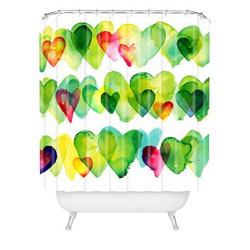 CMYKaren Watercolor Hearts Shower Curtain