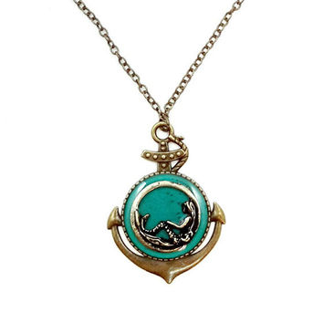 Mermaid jewelry / anchor necklace / teal nautical necklace / ocean beach jewelry / brass and teal / mermaid pendant / anchor jewelry