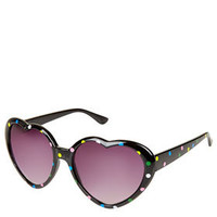 Polka Dot Heart Sunglasses - Oversized Sunglasses - Sunglasses  - Bags & Accessories