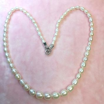 Collier Sautoir Long Rushed 2017 New Arriver Freshwater Pearl Necklace 4-9mm S925 Siver Button Pyramid For Women's Wedding