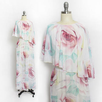 Vintage 1970s Dress - Sheer Rose Print Asymmetric Pastel Maxi Boho Gown - Large L