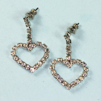 Open Heart Crystal Rhinestone Dangle Earrings Posts