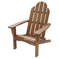 Folding Adirondack Chair for Outdoor Patio Deck Garden in Natural Wood Finish