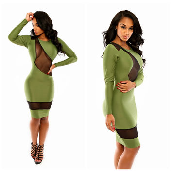 Green with Mesh Accent Long Sleeve Bodycon Dress
