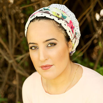 White head scarf – Floral headcovering  – Hair snoods – Chiffon Headpiece