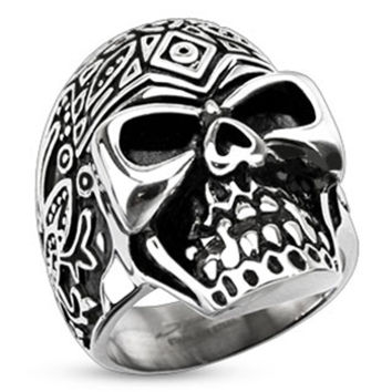 Spikes Stainless Steel Dios De Los Muertos Skull Ring | Body Candy Body Jewelry
