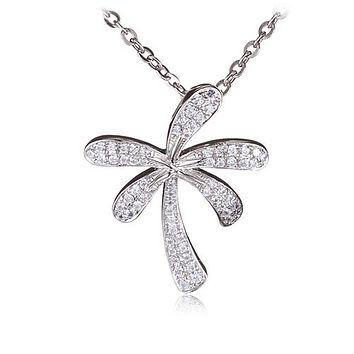 Palm Tree Sterling Silver Pendant Pave Cubic Zirconia(Chain Sold Separately)