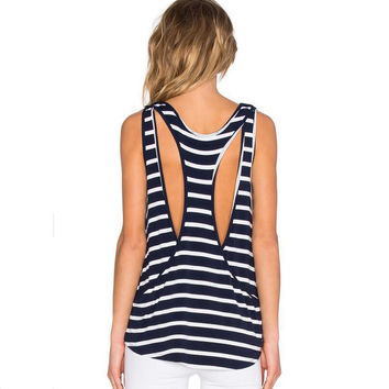 Navy Blue and White Striped Halter Sleeveless T-Shirt