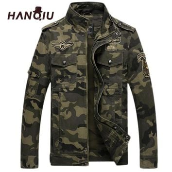 HANQIU Brand Camo Bomber Jacket Men Camouflage Coat Army Military Windbreake Camo Male Jacket Jaqueta Masculino