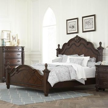 Homelegance Hadley Row Poster Bed in Dark Cherry
