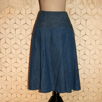 Flared Denim Skirt Denim Midi Skirt Jean Skirt Full Skirt Flared Skirt Jones New York Small Denim Skirt Medium Denim Skirt Womens Clothing