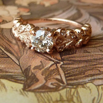 Rose Gold Vintage Petal Diamond Ring