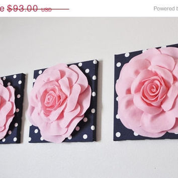"MOTHERS DAY SALE Wall Decor -Set Of Three Light Pink Roses on Navy and White Polka Dot 12 x12"" Canvas Wall Art-"