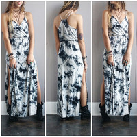 A Gypsy Dream Double Slit Tie Dye Maxi