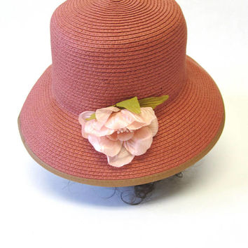 Dusty Red Natural Fiber Hat Cloche Millinery Womens