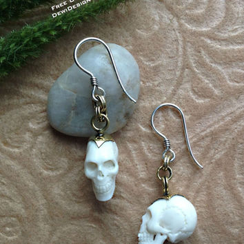 "Tribal Hanging Earrings, ""Pendulum Skulls"" Petite Design, Naturally Organic, Bone, Brass Chains, Sterling Hooks, Hand Carved"