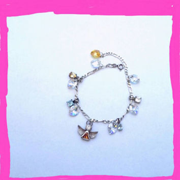 Vintage recycled 925 sterling silver crystal charm bracelet, sunshine yellow, light blue, Angel, rainbow, peace, bohemian gypsy girl inspire