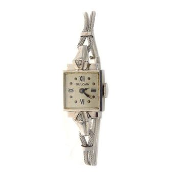 14k White Gold Diamond Bulova Ladies Watch, Vintage, 1930s to 1980s