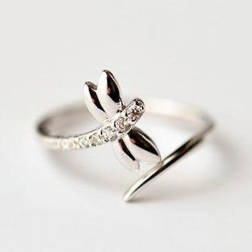 925 Sterling Silver Dragonfly Rings for Women New Design Lovely Girls Christmas Gift Statement Jewelry Adjustable Size Ring