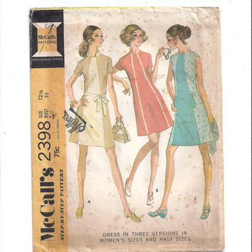 McCall's 2398 Pattern for Misses' Dress in 3 Versions, Size 12.5, From 1970, FACTORY FOLDED, UNCUT, Vintage Pattern, Home Sewing Pattern