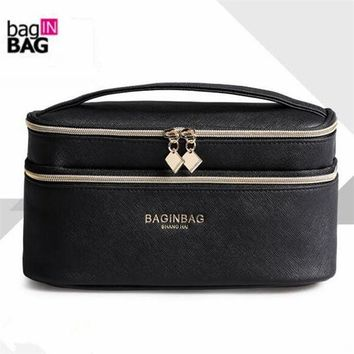 DCCKHG7 Fashion Double Layer Brand Cosmetic Bag Cross PU Leather Multifunctional Make Up Bag Organizer Makeup Pouch Toiletry Bag neceser