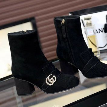 Gucci Women Black Side Zip Ankle Boots Shoes Best Quality