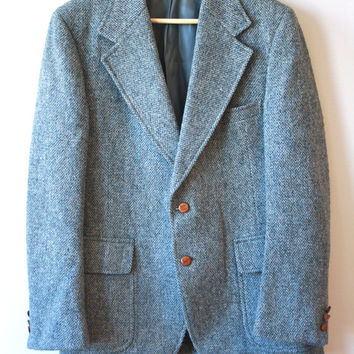 Blue Harris Tweed Blazer Two Button Mens 44 Saks Fifth Ave.