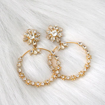 Bridal Hoop Earrings, Blush Pink Statement Earrings,Trendy Bridal Earrings, Bridal Large Gold Hoop Earrings, Swarovski Statement Earrings