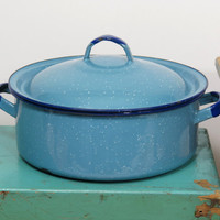 Vintage Chippy Enamelware Shallow Pot with Lid . Light Blue with White Speckles and Cobalt Rim . Circa 1930s . Great Succulent Planter
