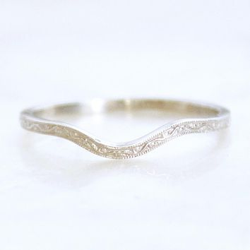 Engraved 1.5mm Scrolling Vine Curved or Straight Wedding Band