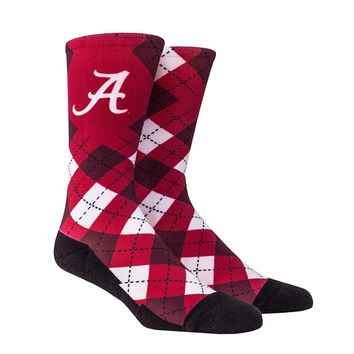 Rock Em Elite Alabama HyperOptic Argyle NCAA Licensed Crew Socks (L/XL)