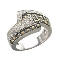 Lord & Taylor Sterling Silver And Marcasite Crystal Bypass Ring