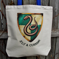 Sly and Cunning Tote Bag.  Slytherin House Fandom Bag. Cotton Canvas Bag.