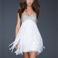 Empire With Beaded Sweetheart Neckline Layered Chiffon Prom Dress PD1916
