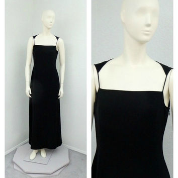 Vintage 90s Tahari Elegant Long Black Formal Dress, Maxi Dress, Halter Dress, Evening Gown, Prom Dress, Party Dress, Sheath Column Dress