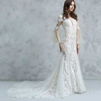 Lace Mermaid Wedding Dress with Champagne Lining Appliqued Unique Design Flare Sleeve