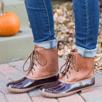ICIKGE8 Classic Duck Boot- Brown